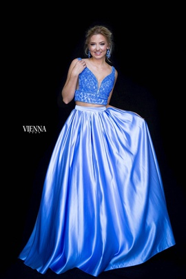 Style 7816 Vienna Blue Size 14 Plunge Two Piece Plus Size A-line Dress on Queenly