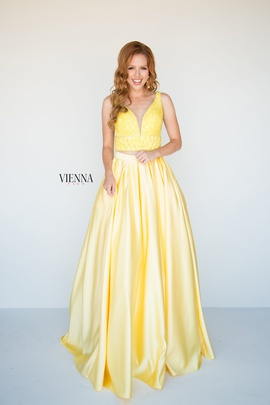 Style 7816 Vienna Yellow Size 8 Two Piece Plunge Backless A-line Dress on Queenly