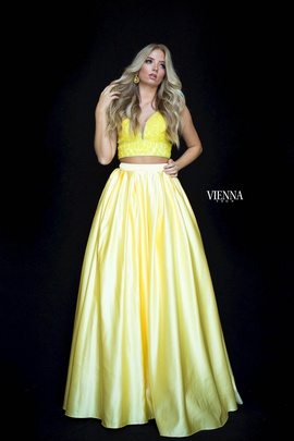 Style 7816 Vienna Yellow Size 10 Two Piece Plunge A-line Dress on Queenly