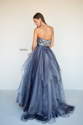 Style 7818 Vienna Silver Size 8 Tulle Tall Height A-line Dress on Queenly