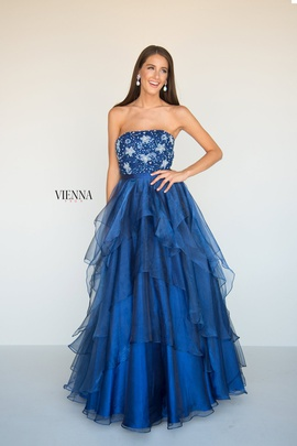 Queenly size 6 Vienna Blue A-line evening gown/formal dress