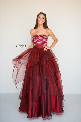 Style 7818 Vienna Red Size 6 Burgundy Strapless A-line Dress on Queenly