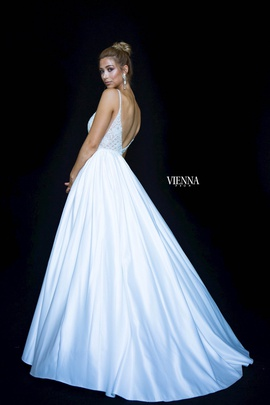Style 7822 Vienna White Size 10 Backless Tall Height Ball gown on Queenly
