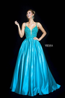 Style 7822 Vienna Blue Size 8 Backless Tall Height Ball gown on Queenly