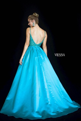 Style 7822 Vienna Blue Size 10 Backless Tall Height Ball gown on Queenly