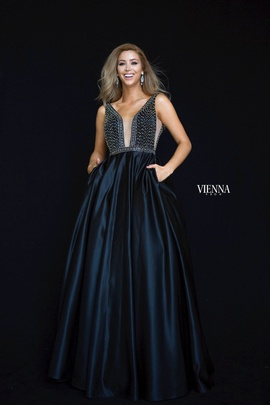 Style 7823 Vienna Black Size 2 Backless Tall Height Ball gown on Queenly