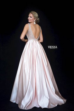 Style 7823 Vienna Gold Size 12 Pageant Backless Tall Height Ball gown on Queenly