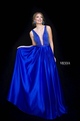 Style 7823 Vienna Blue Size 12 Backless Tall Height Ball gown on Queenly