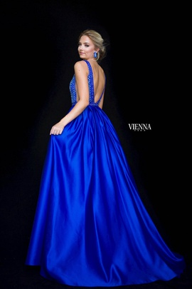 Style 7823 Vienna Blue Size 20 Backless Tall Height Ball gown on Queenly
