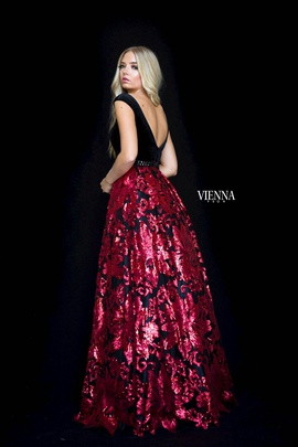 Style 7824 Vienna Red Size 16 Plunge Print Plus Size A-line Dress on Queenly