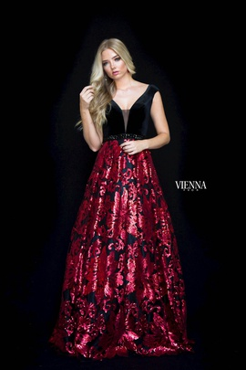 Style 7824 Vienna Red Size 18 Plunge Print Plus Size A-line Dress on Queenly