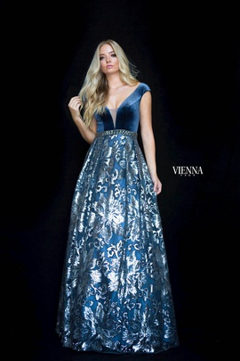 Style 7824 Vienna Blue Size 12 Backless Tall Height A-line Dress on Queenly