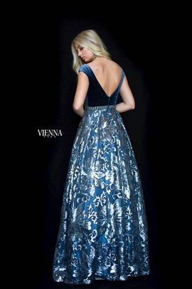 Style 7824 Vienna Blue Size 14 Backless Tall Height A-line Dress on Queenly