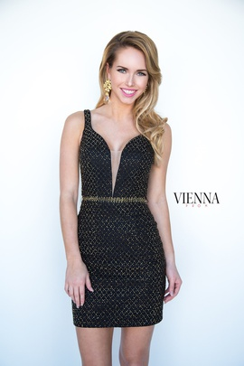 Style 6066 Vienna Black Size 8 Mini Plunge Shiny Cocktail Dress on Queenly