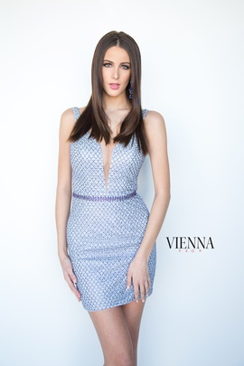 Style 6066 Vienna Silver Size 14 Plunge Backless Shiny Cocktail Dress on Queenly