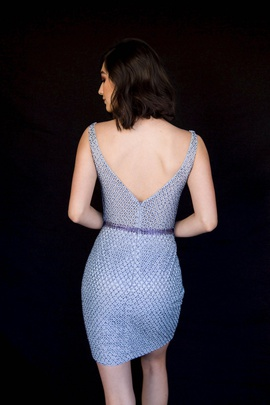 Style 6066 Vienna Blue Size 10 Mini Plunge Shiny Cocktail Dress on Queenly
