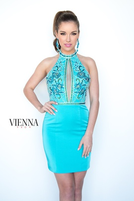 Style 6069 Vienna Blue Size 12 Mini Plus Size Shiny Cocktail Dress on Queenly