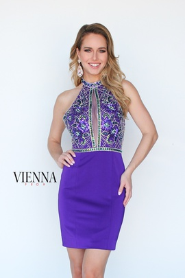 Style 6069 Vienna Purple Size 0 Halter Shiny Cocktail Dress on Queenly