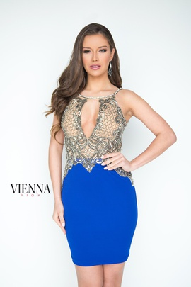 Style 6070 Vienna Blue Size 12 Plunge Plus Size Shiny Cocktail Dress on Queenly
