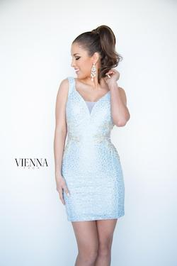 Style 6075 Vienna Blue Size 00 Tall Height Sheer V Neck Cocktail Dress on Queenly
