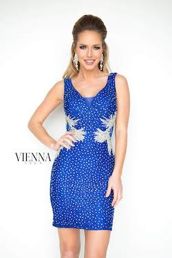 Style 6075 Vienna Blue Size 8 Mini V Neck Shiny Cocktail Dress on Queenly