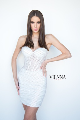 Style 6076 Vienna White Size 10 Strapless Mini Shiny Cocktail Dress on Queenly