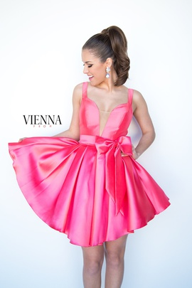 Style 6090 Vienna Pink Size 6 Belt Plunge Cocktail Dress on Queenly