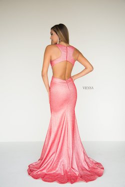 Style 8900 Vienna Pink Size 2 Cut Out Plunge Shiny Mermaid Dress on Queenly