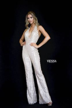 Style 8706 Vienna Gold Size 00 Fun Fashion Plunge Shiny Romper/Jumpsuit Dress on Queenly