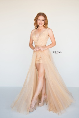 Style 8605 Vienna Gold Size 4 Plunge Pageant Two Piece Romper/Jumpsuit Dress on Queenly