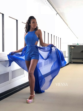 Style 8606 Vienna Blue Size 4 Jewelled Tall Height Romper/Jumpsuit Dress on Queenly