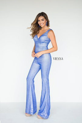 Style 8702 Vienna Blue Size 00 Backless Tall Height Romper/Jumpsuit Dress on Queenly
