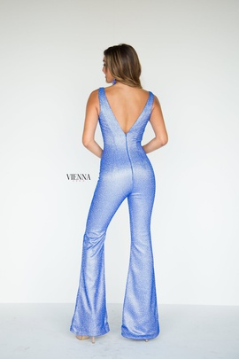 Style 8702 Vienna Blue Size 10 Plunge Backless Fun Fashion Shiny Romper/Jumpsuit Dress on Queenly