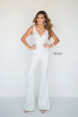 Style 8702 Vienna White Size 6 Plunge Interview Shiny Romper/Jumpsuit Dress on Queenly