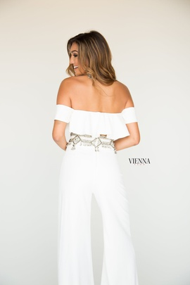 Style 8703 Vienna White Size 10 Two Piece Fun Fashion Ruffles Romper/Jumpsuit Dress on Queenly