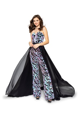 Style 8708 Vienna Multicolor Size 00 Fun Fashion Overskirt Strapless Romper/Jumpsuit Dress on Queenly