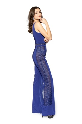 Style 8711 Vienna Blue Size 6 Backless Tall Height Romper/Jumpsuit Dress on Queenly