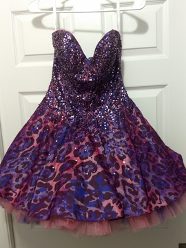 Jovani Purple Size 4 Mini Pink A-line Dress on Queenly