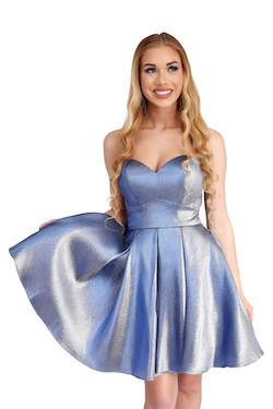Style 65006 Vienna Blue Size 8 Corset Strapless Mini Cocktail Dress on Queenly