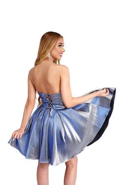 Style 65006 Vienna Blue Size 12 Corset Flare Cocktail Dress on Queenly