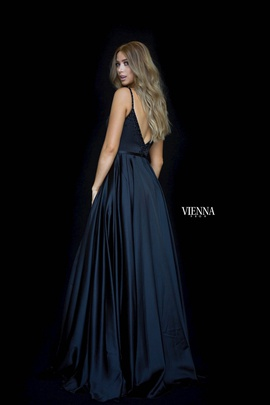 Style 7829 Vienna Black Size 4 Backless Tall Height Side slit Dress on Queenly