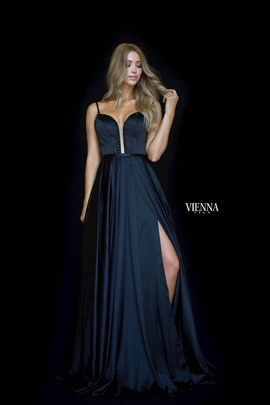 Style 7829 Vienna Black Size 10 Sweetheart Backless Tall Height Side slit Dress on Queenly