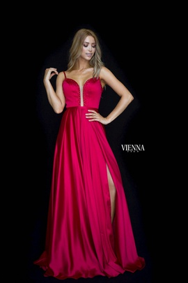Style 7829 Vienna Red Size 4 Backless Tall Height Side slit Dress on Queenly