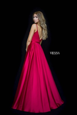 Style 7829 Vienna Red Size 8 Backless Tall Height Side slit Dress on Queenly