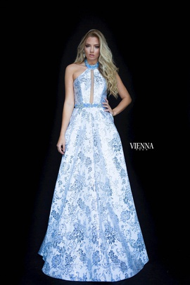 Style 7831 Vienna Blue Size 6 Halter Backless Tall Height A-line Dress on Queenly
