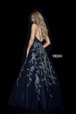 Style 7833 Vienna Black Size 12 Plunge Plus Size Shiny Ball gown on Queenly