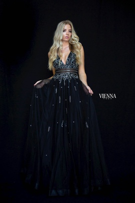 Style 7834 Vienna Black Size 12 Tulle Backless Tall Height Side slit Dress on Queenly