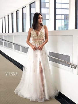 Style 7834 Vienna White Size 2 Backless Tall Height Side slit Dress on Queenly
