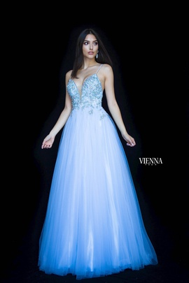 Style 7835 Vienna Blue Size 0 Pattern Backless Side slit Dress on Queenly