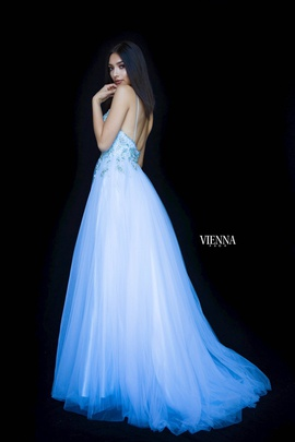 Style 7835 Vienna Blue Size 8 Pageant Pattern Backless Side slit Dress on Queenly